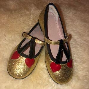 Authentic Gucci gold glitter flats cherry hearts